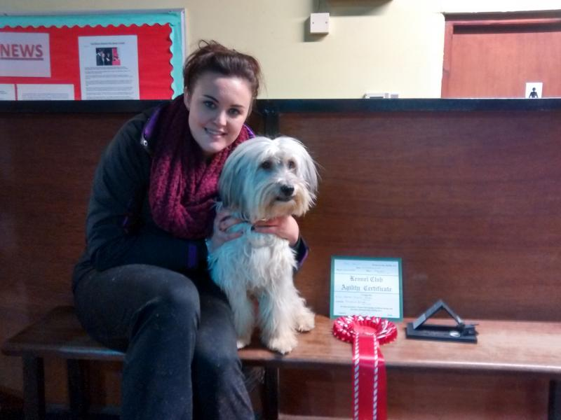 Ashleigh and Pudsey - Dog Agility Trophy - Green Slate Trophies
