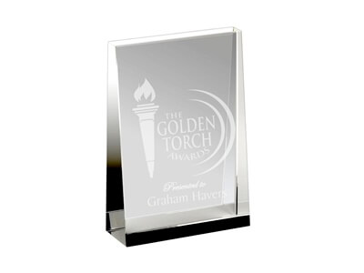 Sandblasted Glass Corporate Trophy